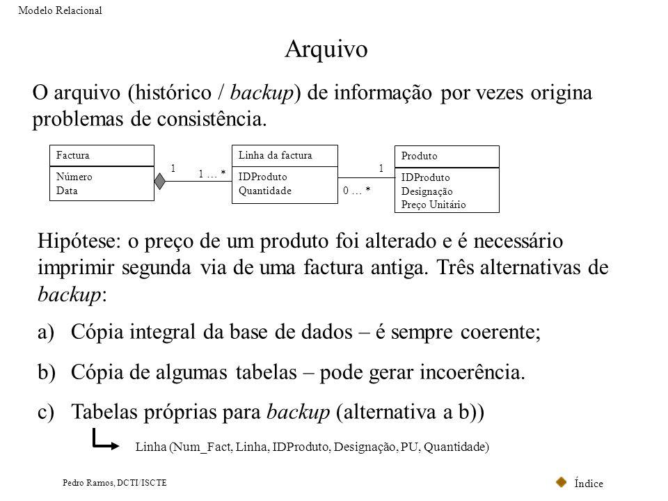 Modelo Relacional Arquivo. O arquivo (histórico / backup) de informação por vezes origina problemas de consistência.