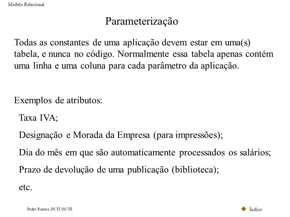 Modelo Relacional Parameterização.