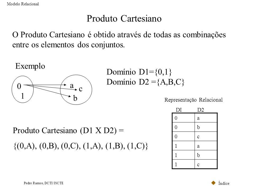 Modelo Relacional Produto Cartesiano. O Produto Cartesiano é obtido através de todas as combinações entre os elementos dos conjuntos.