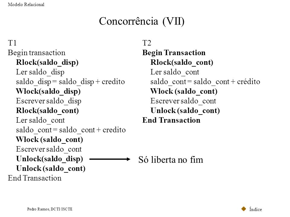 Concorrência (VII) Só liberta no fim T1 Begin transaction