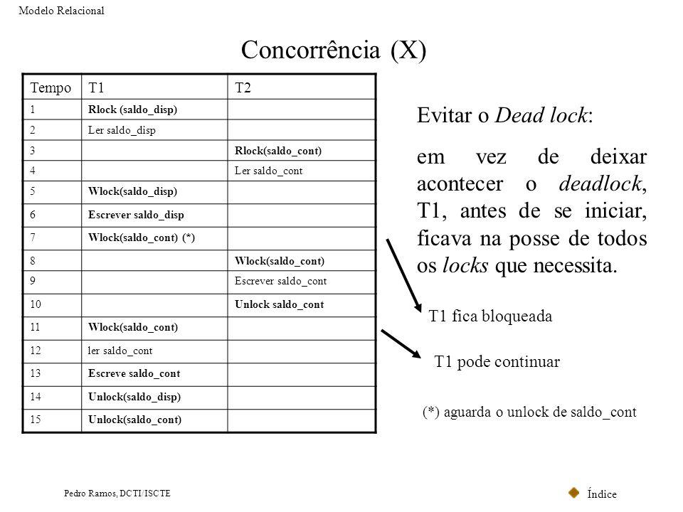 Concorrência (X) Evitar o Dead lock: