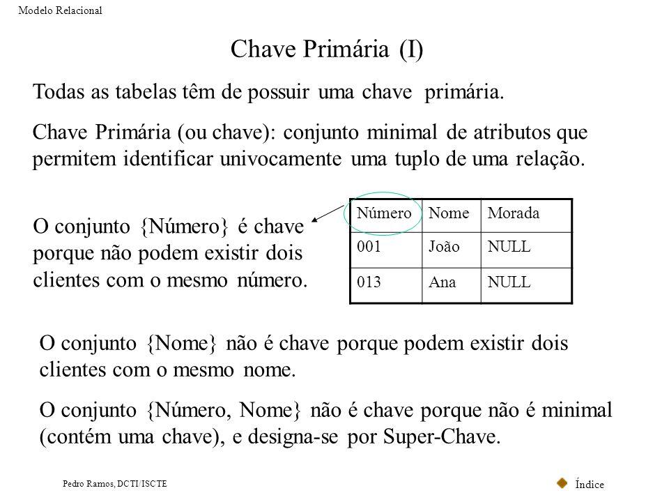 Chave Primária (I) Todas as tabelas têm de possuir uma chave primária.