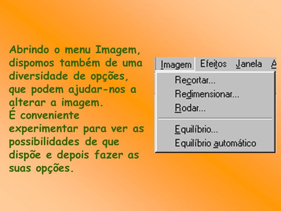 Abrindo o menu Imagem, dispomos também de uma diversidade de opções, que podem ajudar-nos a alterar a imagem.