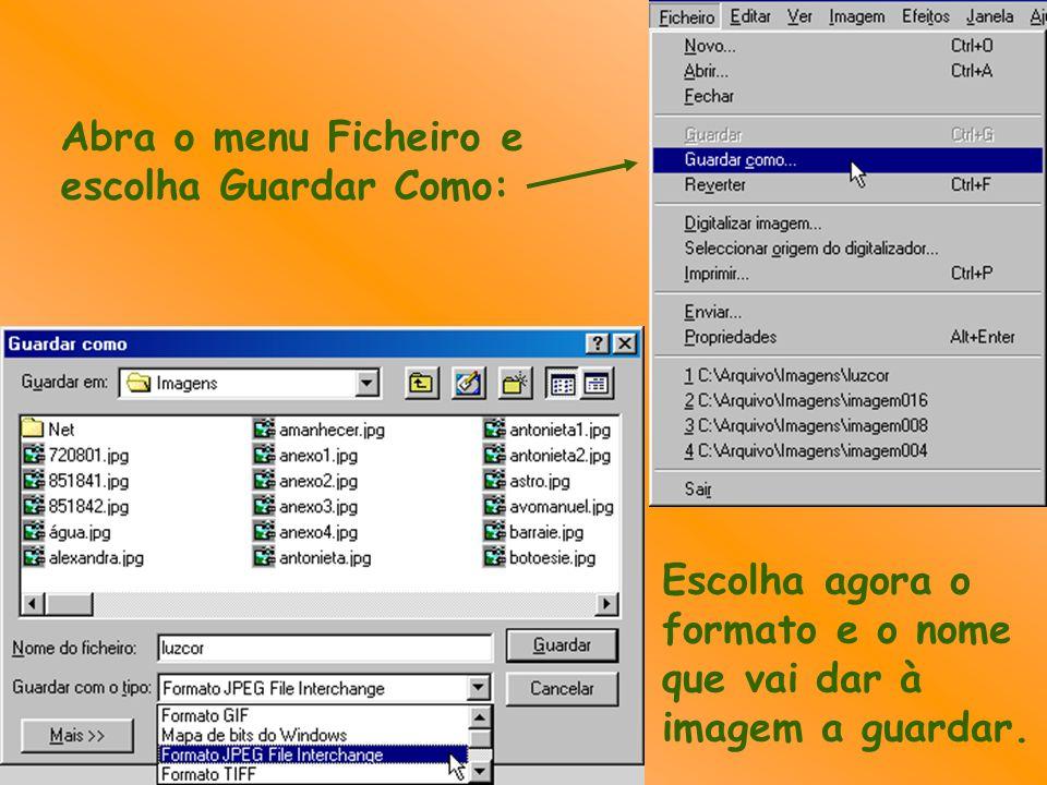 Abra o menu Ficheiro e escolha Guardar Como: