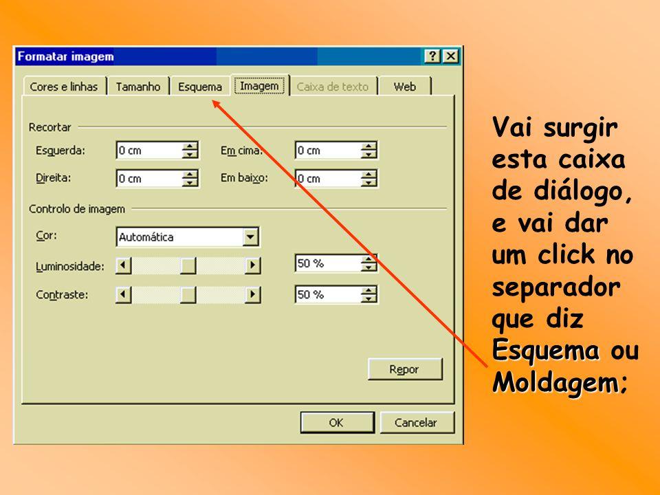 Vai surgir esta caixa de diálogo, e vai dar um click no separador que diz Esquema ou Moldagem;