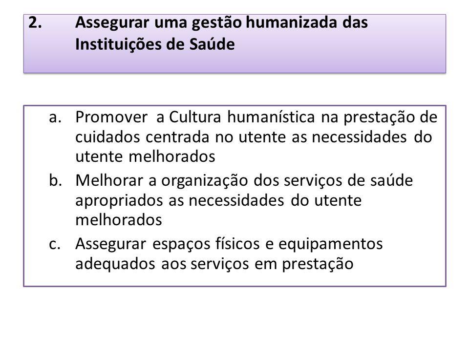 2. Assegurar uma gestão humanizada das Instituições de Saúde