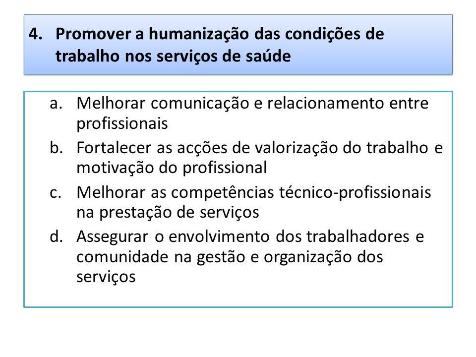 4. Promover a humanização das condições de trabalho nos serviços de saúde