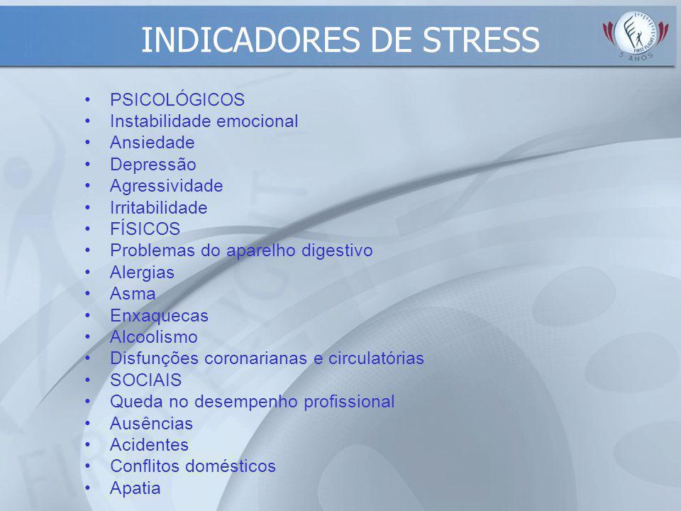 INDICADORES DE STRESS PSICOLÓGICOS Instabilidade emocional Ansiedade