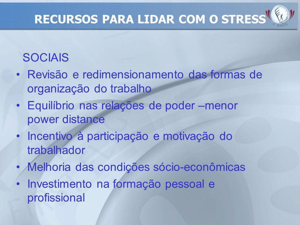 RECURSOS PARA LIDAR COM O STRESS