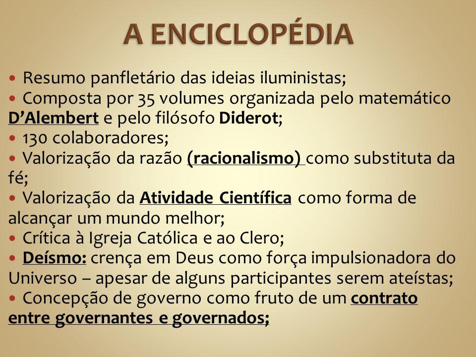 A ENCICLOPÉDIA Resumo panfletário das ideias iluministas;