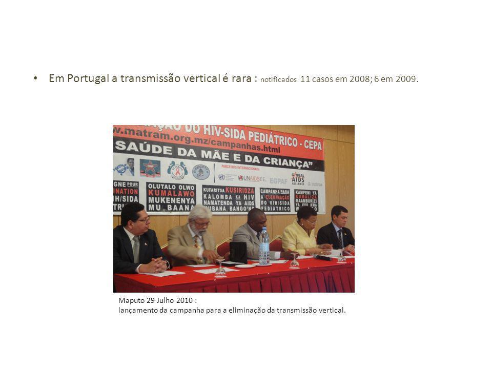 Em Portugal a transmissão vertical é rara : notificados 11 casos em 2008; 6 em 2009.