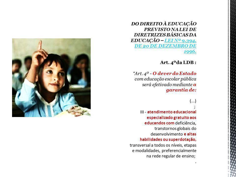 DO DIREITO À EDUCAÇÃO PREVISTO NA LEI DE DIRETRIZES BÁSICAS DA EDUCAÇÃO – LEI Nº 9.394, DE 20 DE DEZEMBRO DE 1996.
