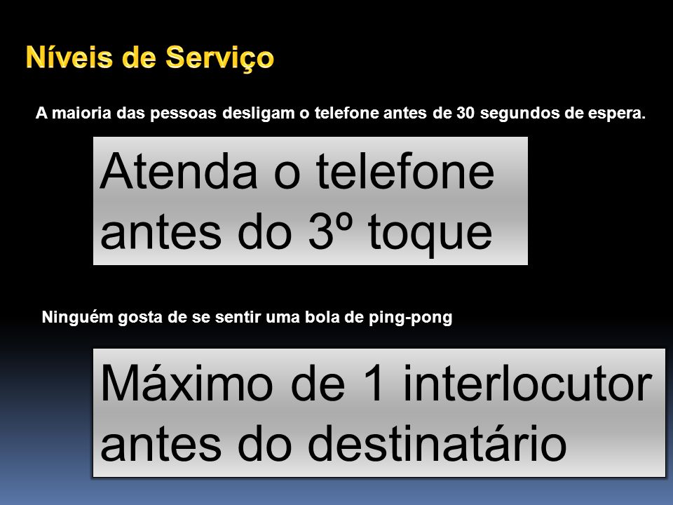 Atenda o telefone antes do 3º toque