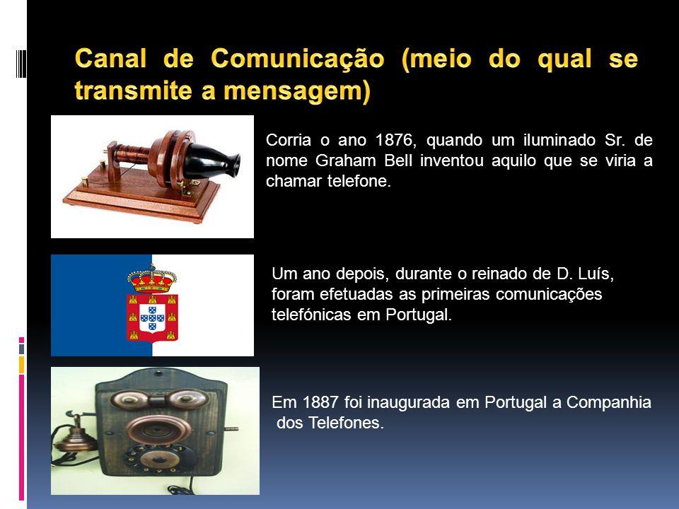 Canal de Comunicação (meio do qual se transmite a mensagem)