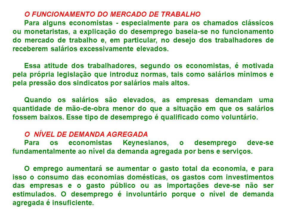 O FUNCIONAMENTO DO MERCADO DE TRABALHO