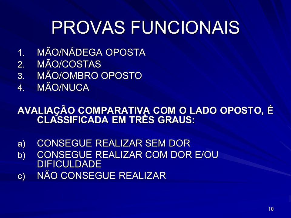 PROVAS FUNCIONAIS MÃO/NÁDEGA OPOSTA MÃO/COSTAS MÃO/OMBRO OPOSTO