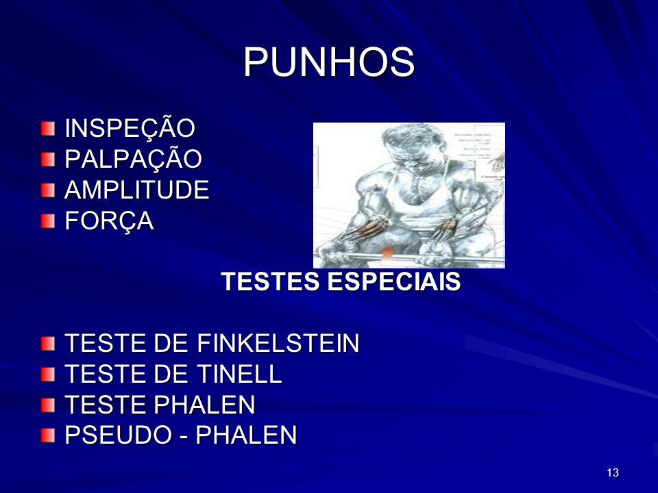 PUNHOS INSPEÇÃO PALPAÇÃO AMPLITUDE FORÇA TESTES ESPECIAIS