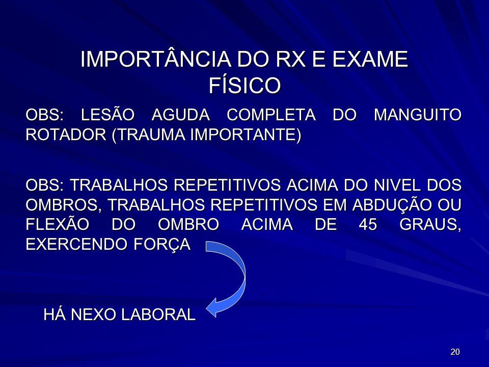IMPORTÂNCIA DO RX E EXAME FÍSICO