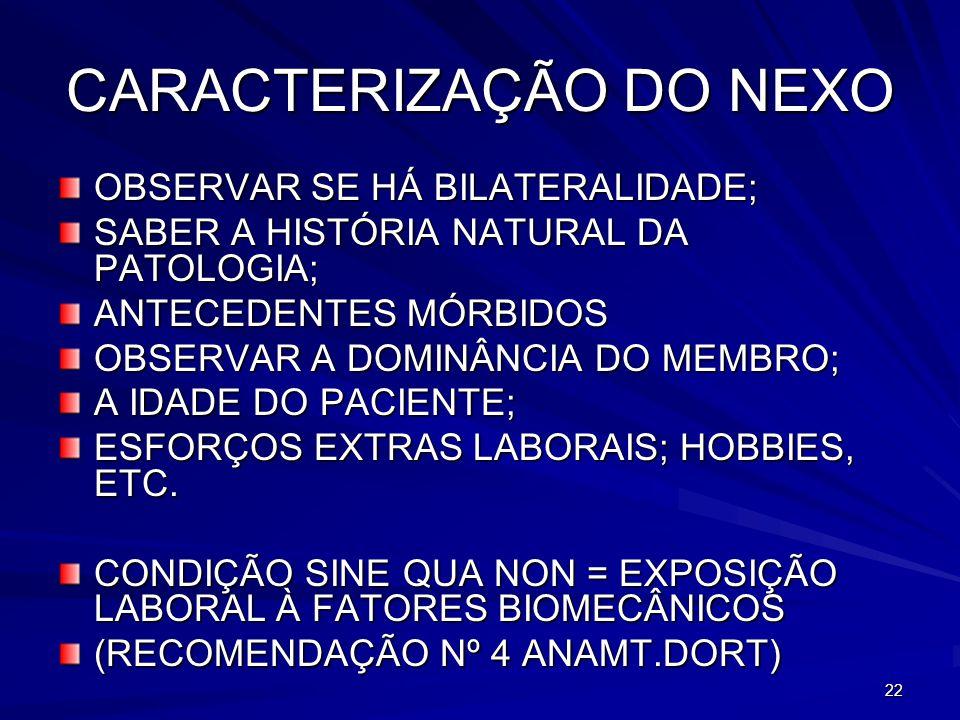 CARACTERIZAÇÃO DO NEXO
