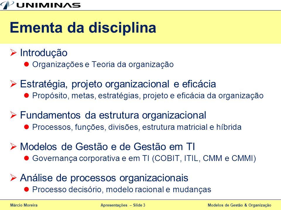 Ementa da disciplina Introdução