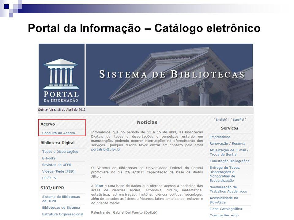 Portal da Informação – Catálogo eletrônico