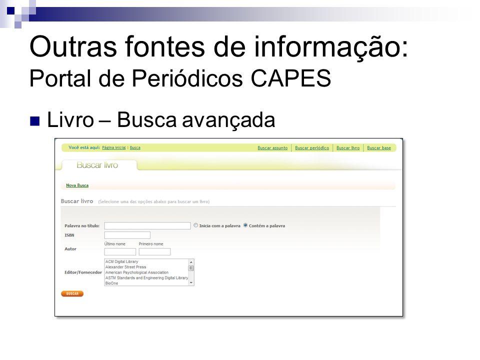Outras fontes de informação: Portal de Periódicos CAPES