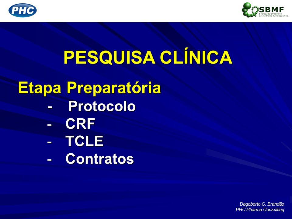 PESQUISA CLÍNICA Etapa Preparatória - Protocolo CRF TCLE Contratos