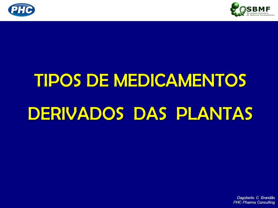 TIPOS DE MEDICAMENTOS DERIVADOS DAS PLANTAS Dagoberto C. Brandão