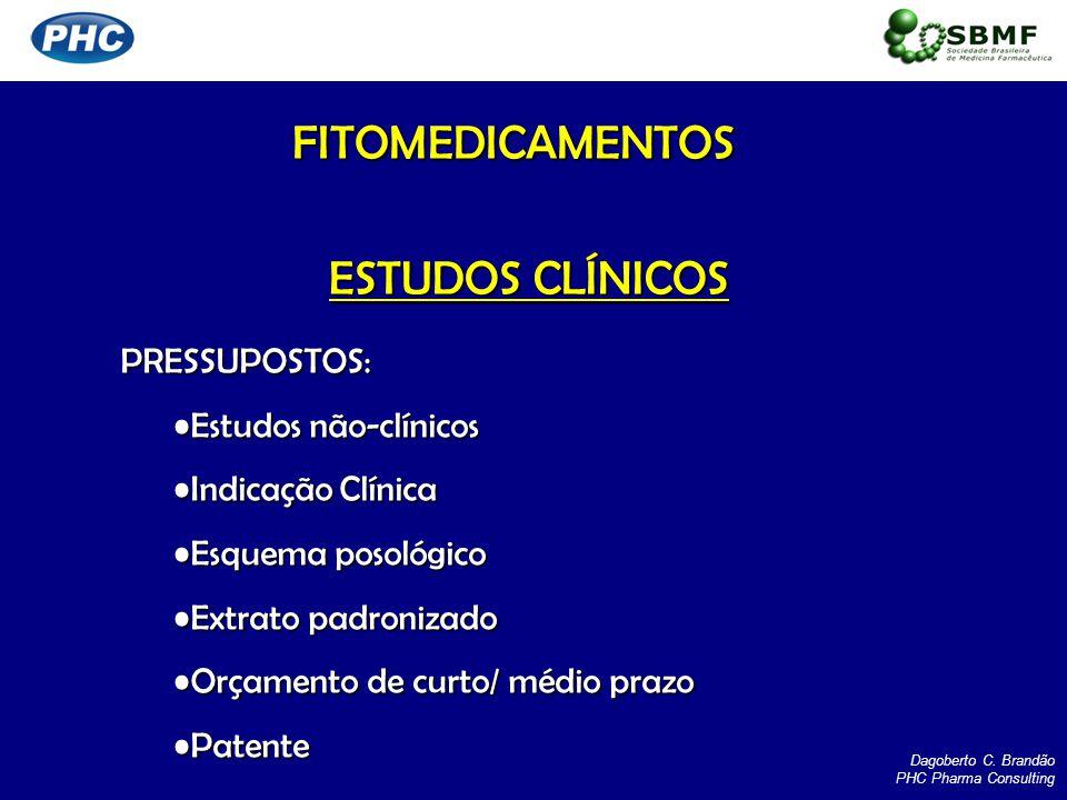 FITOMEDICAMENTOS ESTUDOS CLÍNICOS PRESSUPOSTOS: Estudos não-clínicos