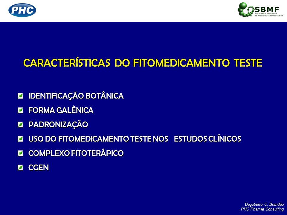 CARACTERÍSTICAS DO FITOMEDICAMENTO TESTE