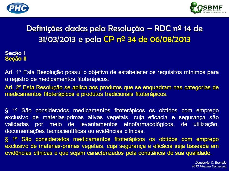 Definições dadas pela Resolução – RDC nº 14 de 31/03/2013 e pela CP nº 34 de 06/08/2013