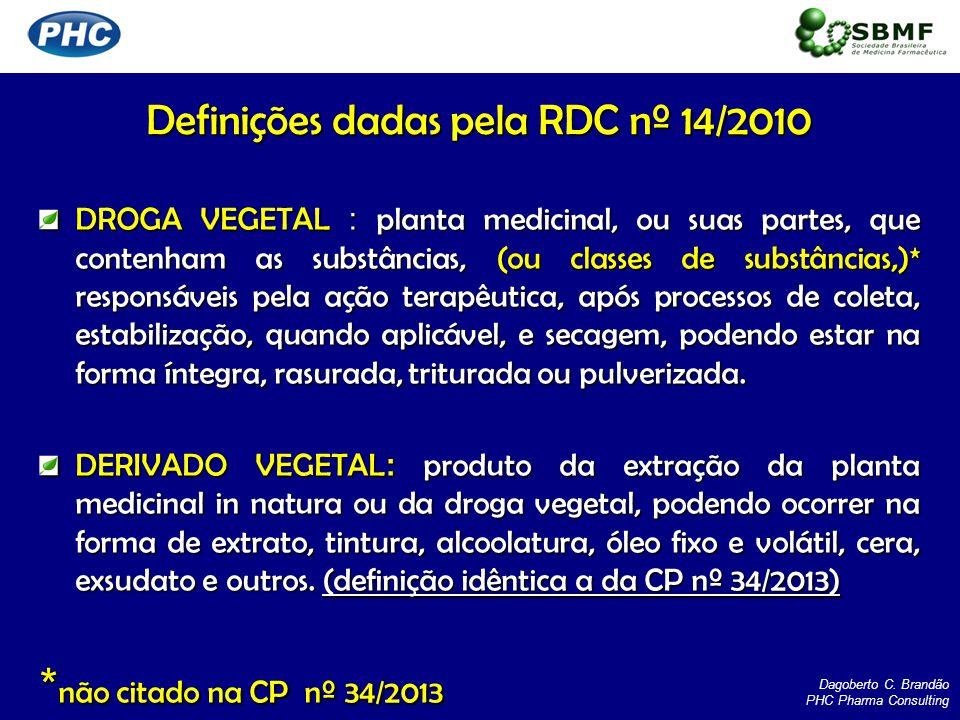 Definições dadas pela RDC nº 14/2010