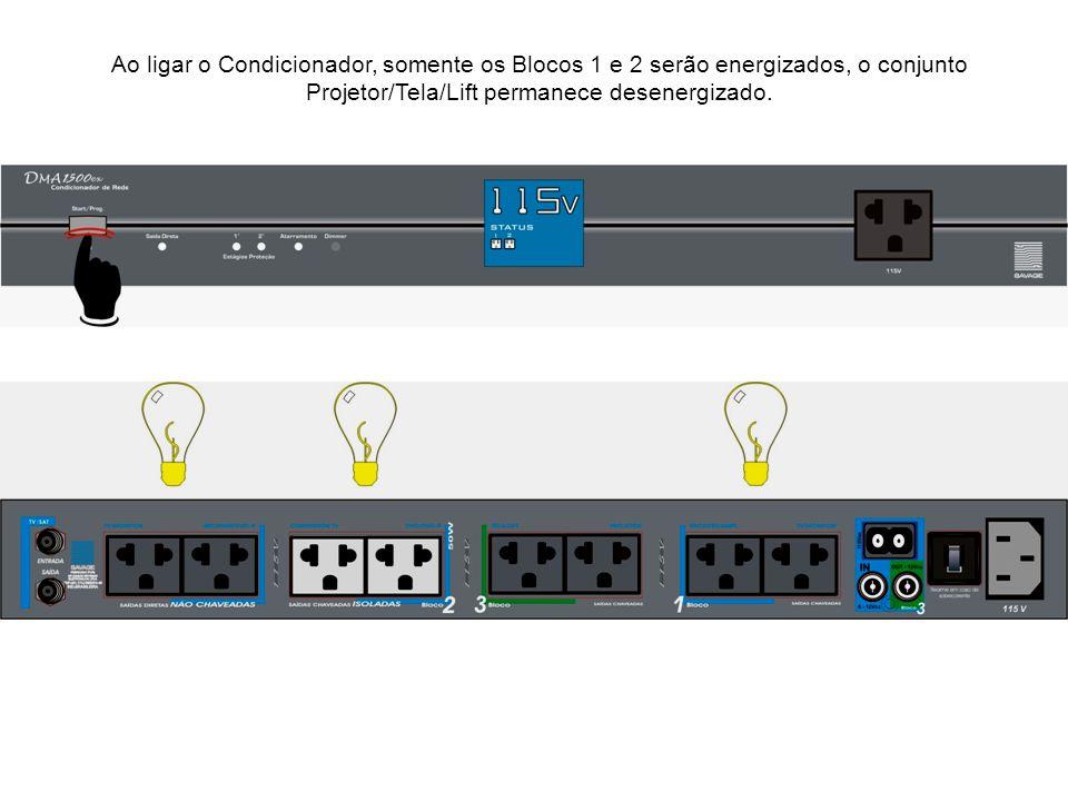 Ao ligar o Condicionador, somente os Blocos 1 e 2 serão energizados, o conjunto Projetor/Tela/Lift permanece desenergizado.