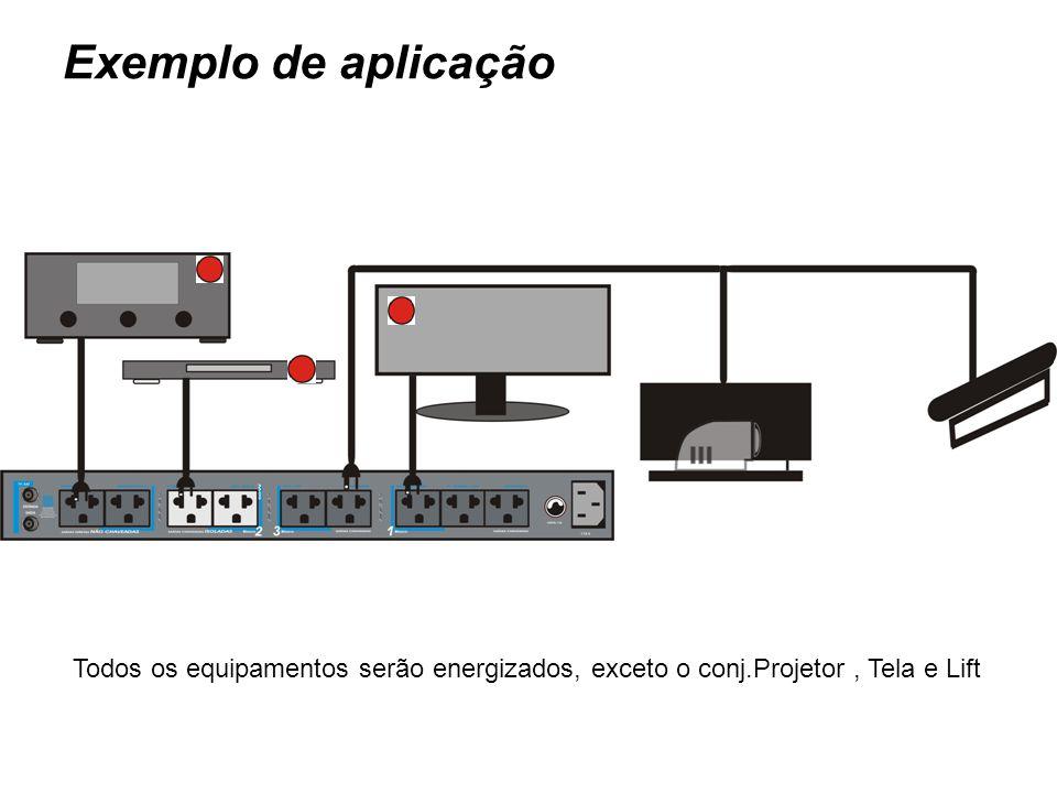 Exemplo de aplicação Todos os equipamentos serão energizados, exceto o conj.Projetor , Tela e Lift