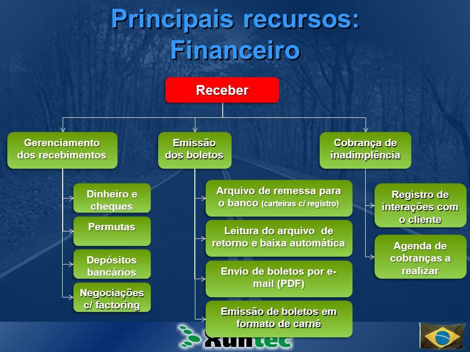 Principais recursos: Financeiro