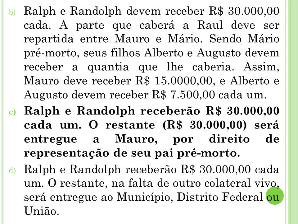Ralph e Randolph devem receber R$ 30. 000,00 cada
