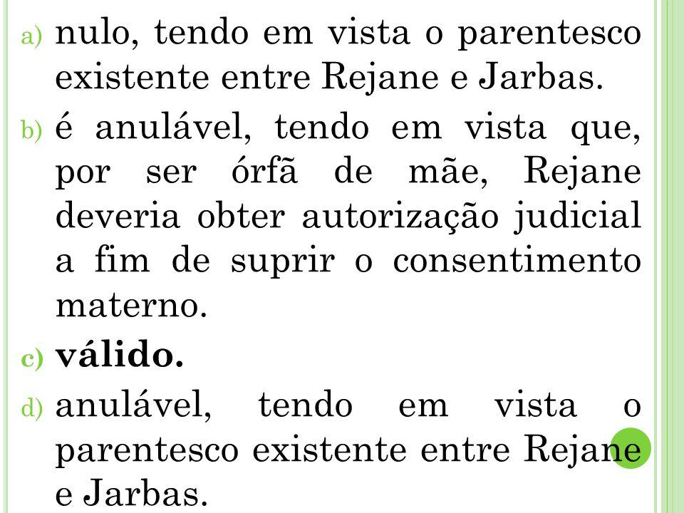 nulo, tendo em vista o parentesco existente entre Rejane e Jarbas.