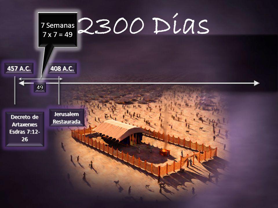 2300 Dias 7 Semanas 7 x 7 = 49 457 A.C. 408 A.C. 49 Jerusalem