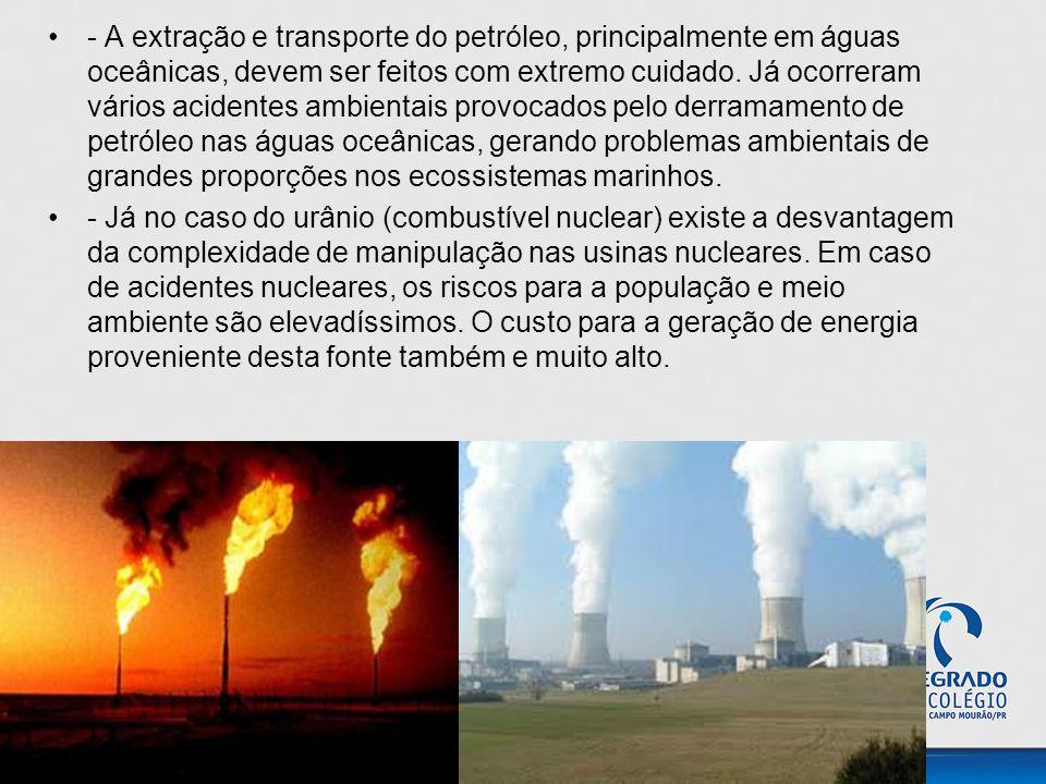 - A extração e transporte do petróleo, principalmente em águas oceânicas, devem ser feitos com extremo cuidado. Já ocorreram vários acidentes ambientais provocados pelo derramamento de petróleo nas águas oceânicas, gerando problemas ambientais de grandes proporções nos ecossistemas marinhos.