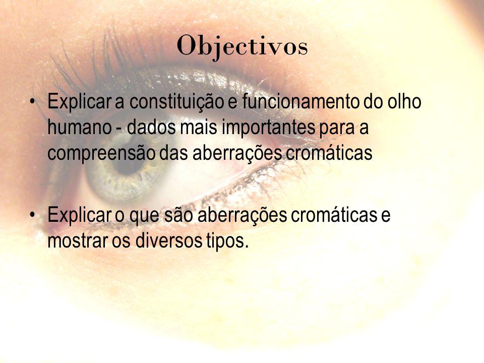 Objectivos Explicar a constituição e funcionamento do olho humano - dados mais importantes para a compreensão das aberrações cromáticas.