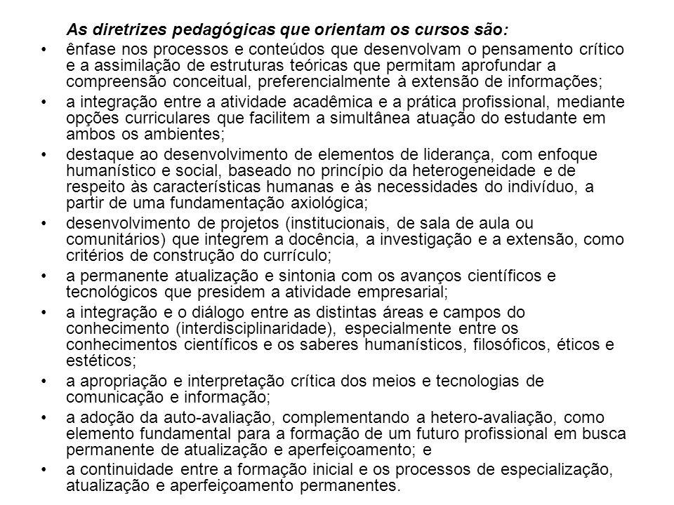 As diretrizes pedagógicas que orientam os cursos são: