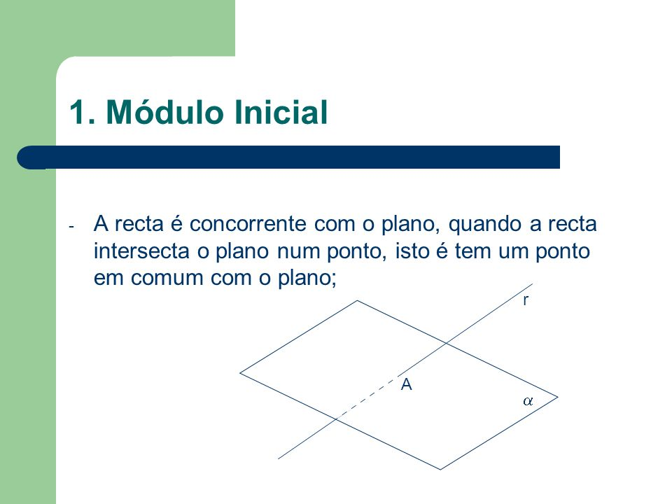 1. Módulo Inicial A recta é concorrente com o plano, quando a recta intersecta o plano num ponto, isto é tem um ponto em comum com o plano;
