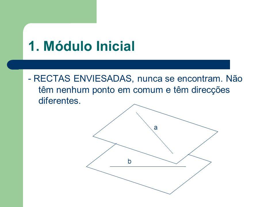 1. Módulo Inicial - RECTAS ENVIESADAS, nunca se encontram. Não têm nenhum ponto em comum e têm direcções diferentes.