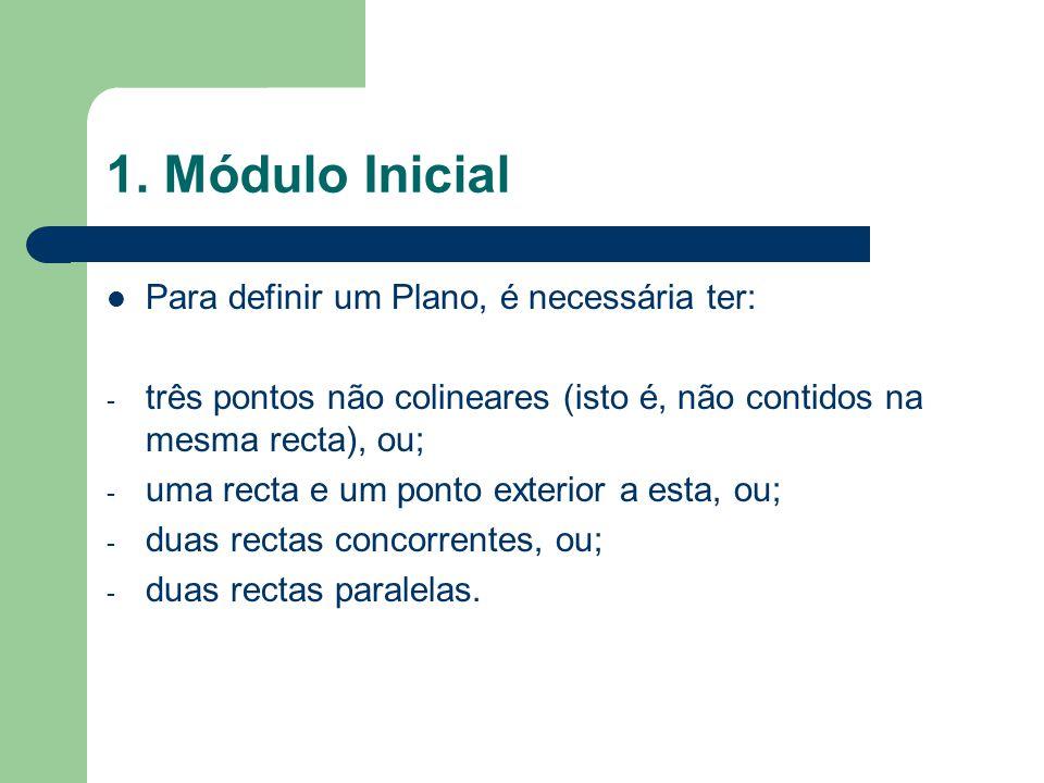 1. Módulo Inicial Para definir um Plano, é necessária ter: