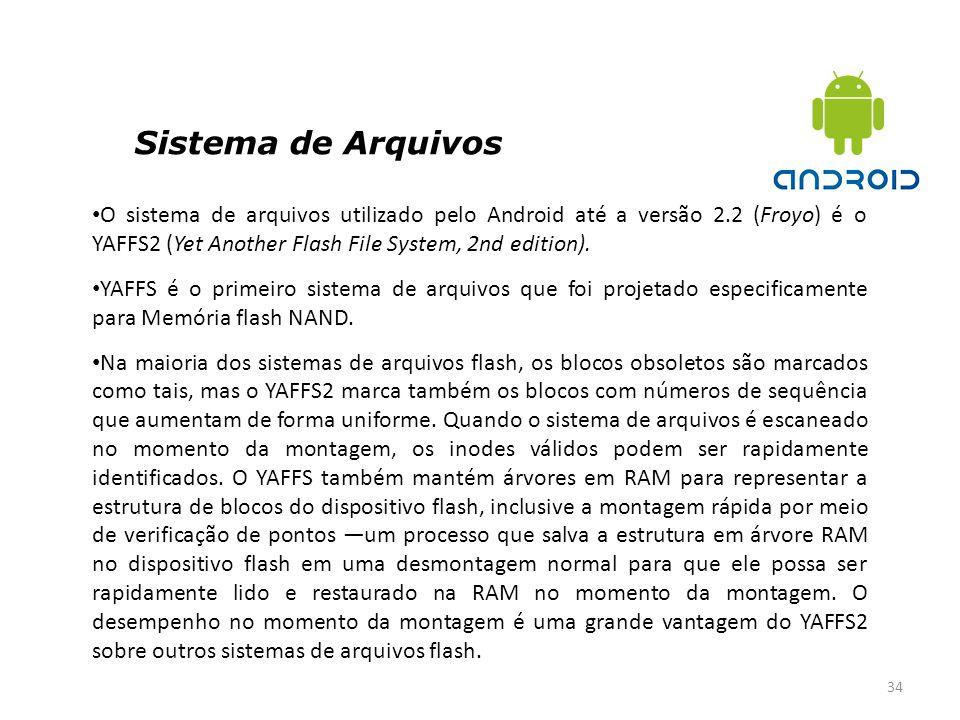 Sistema de Arquivos O sistema de arquivos utilizado pelo Android até a versão 2.2 (Froyo) é o YAFFS2 (Yet Another Flash File System, 2nd edition).