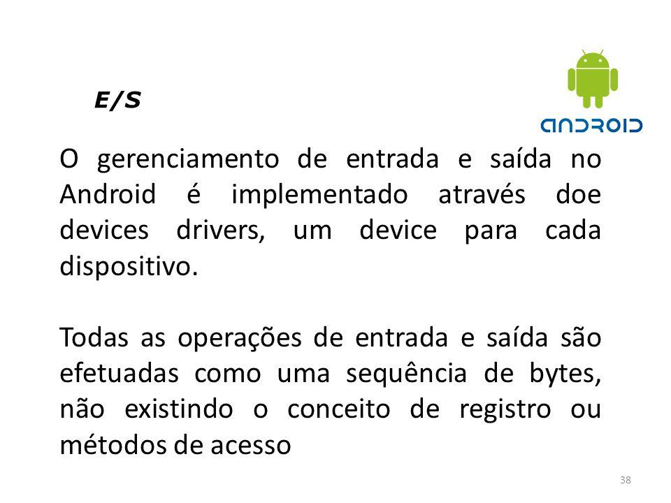 E/S O gerenciamento de entrada e saída no Android é implementado através doe devices drivers, um device para cada dispositivo.