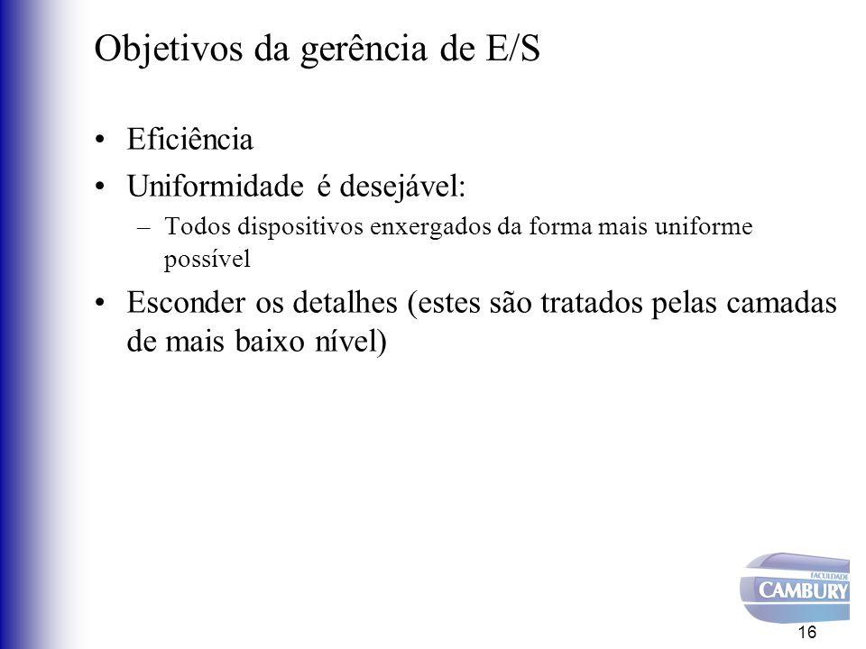 Objetivos da gerência de E/S