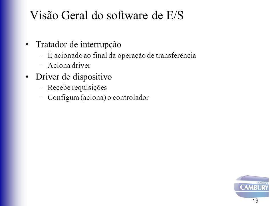 Visão Geral do software de E/S