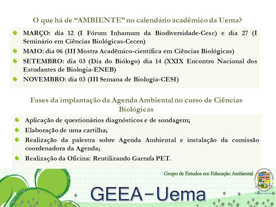 O que há de AMBIENTE no calendário acadêmico da Uema