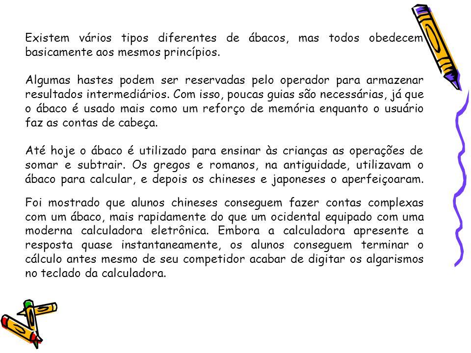 Existem vários tipos diferentes de ábacos, mas todos obedecem basicamente aos mesmos princípios.